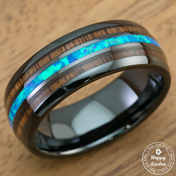 HI-TECH Black Ceramic Ring with Blue Opal & Hawaiian Koa Wood Tri Inlay - 8mm, Dome Shape, Comfort Fitment