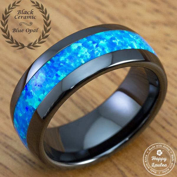 Black Hi-Tech Ceramic Ring with Blue Opal Inlay - 8mm, Dome Shape, Comfort Fitment