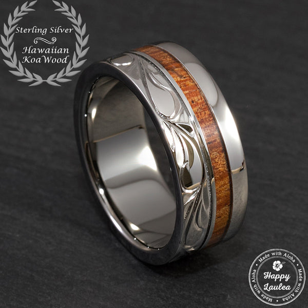 Black Rhodium Coated Sterling Silver Hand Engraved Hawaiian Heritage Ring with Koa Wood Inlay