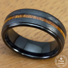 Black Tungsten Carbide Cross Brush Finish Ring with Hawaiian Koa Wood Inlay - 8mm, Flat Shape, Comfort Fitment