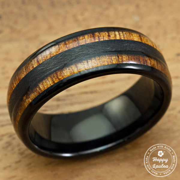 Black Tungsten Carbide Cross Brushed Finished Ring with Duo Koa Wood Inlay - 8mm, Dome Shape, Comfort Fitment