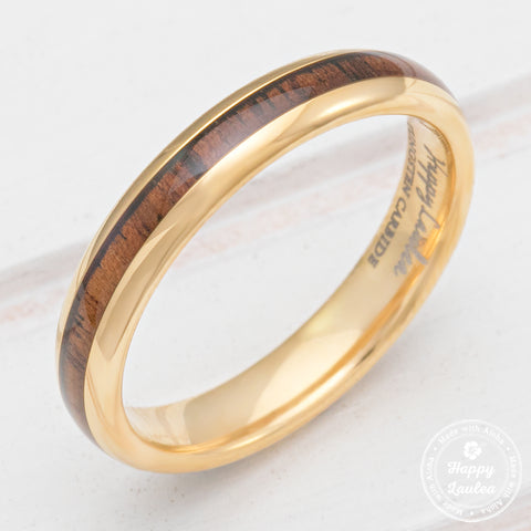 Petite Tungsten Carbide Yellow Gold ION Plated Ring with Hawaiian Koa Wood Inlay - 3mm, Dome Shape, Comfort Fitment