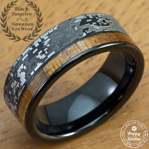 Black Tungsten Carbide Digital Camo Ring with Hawaiian Koa Wood Offset Inlay - 8mm, Flat Shape, Comfort Fitment