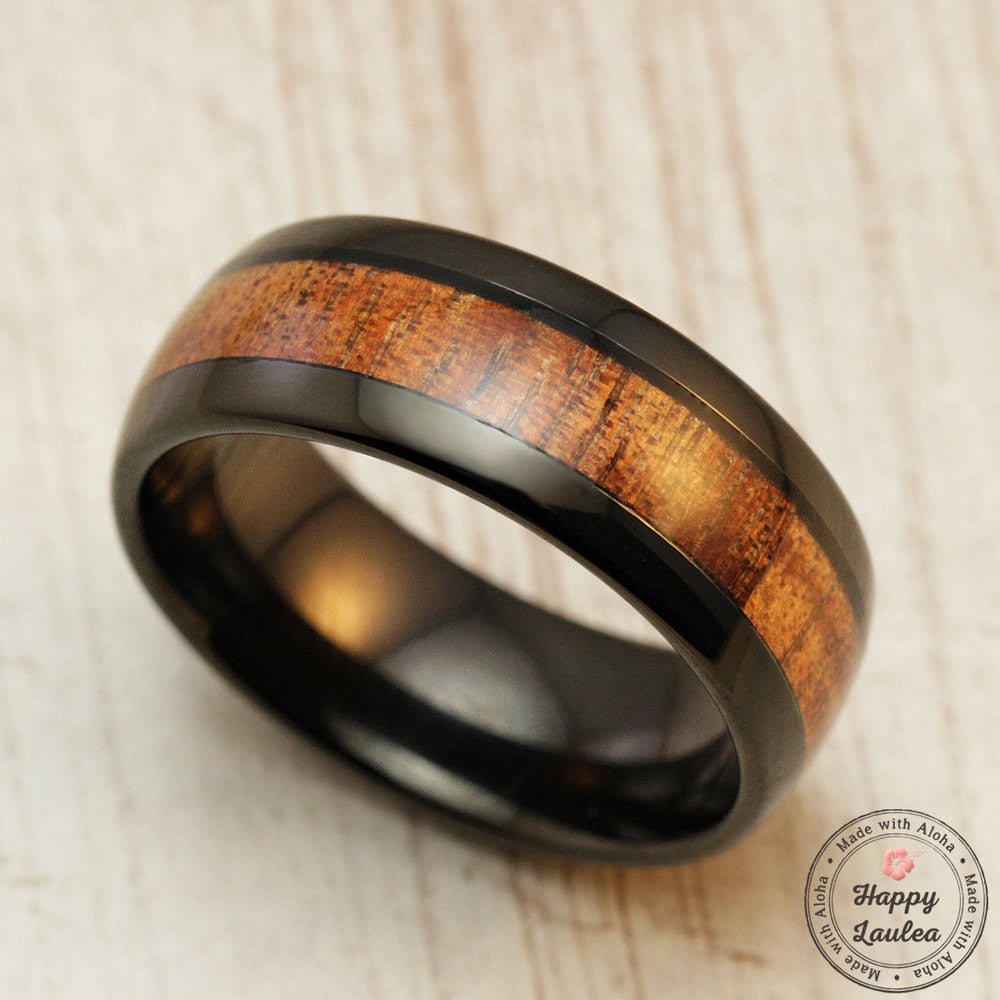 Black Tungsten Carbide Ring with Koa Wood Inlay - 8mm, Dome Shape, Comfort Fitment
