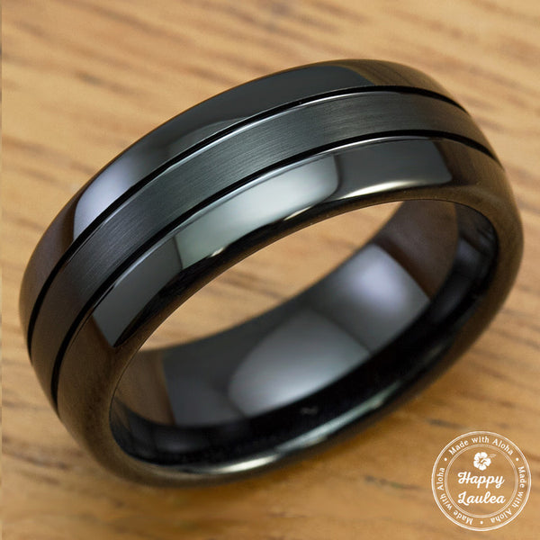 Black Tungsten Carbide Brush Center Finish Ring - 8mm, Dome Shape, Comfort Fitment