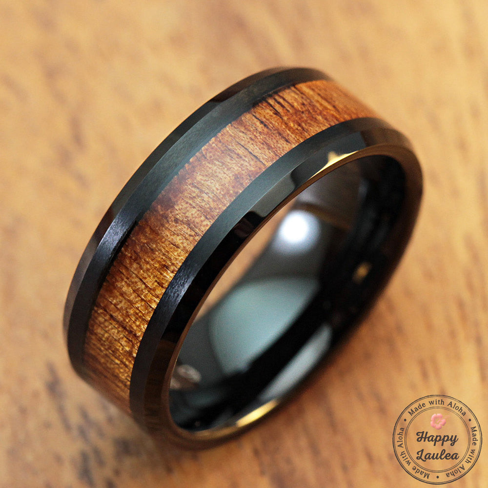 Black Tungsten Carbide Bevelled Edge Ring With Koa Wood Inlay