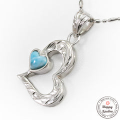 925 Sterling Silver Melted Heart Motif Pendant With Larimar Stone Setting