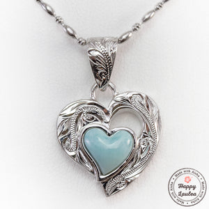 925 Sterling Silver Heart Motif Pendant with Larimar Stone Setting