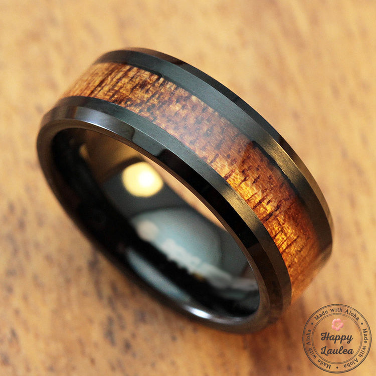 Black Tungsten Carbide Beveled Edge Ring with Koa Wood Inlay, 8-10mm, Flat Shape, Comfort Fitment