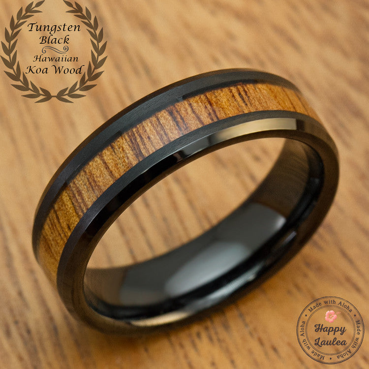 Black Tungsten Carbide Beveled Edge Ring with Hawaiian Koa Wood Inlay - 6mm, Flat Shape, Comfort Fitment