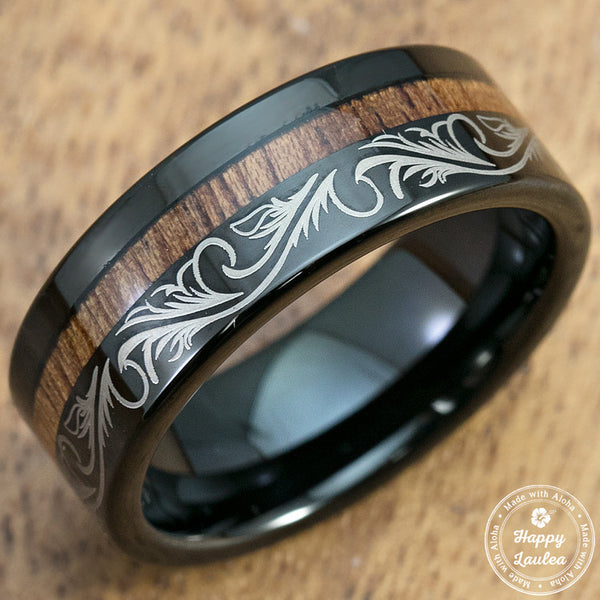 Black Tungsten Scroll Pattern Ring with Offset Hawaiian Koa Wood Inlay - 8mm, Flat Shape, Comfort Fitment