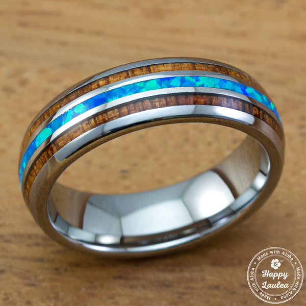 Tungsten Carbide Ring with Blue Opal & Koa Wood Tri Inlay - 6mm, Dome Shape, Comfort Fitment