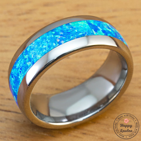 Tungsten Carbide with Blue Opal Inlay - 8mm, Dome Shape, Comfort Fitment