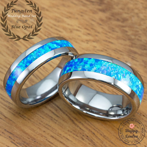 Pair of Blue Opal Tungsten Carbide Wedding Ring Set - 6&8mm, Dome Shape, Comfort Fitment
