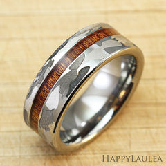 Camo Pattern Tungsten Carbide Ring with Koa Wood Inlay - 8mm, Flat Shape, Comfort Fitment (DISCONTINUED)