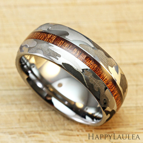 Camo Tungsten Carbide Ring with Koa Wood Inlay - 8mm, Dome Shape, Comfort Fitment (DISCONTINUED)