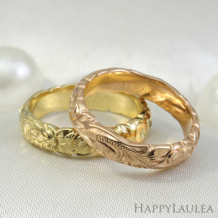14k Gold Hand Engraved Wave Edge Ring with Hawaiian Old English Design - 4mm, Dome Shape, Standard Fitment