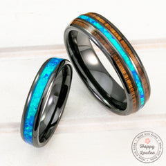 Pair of 3&6mm Black Ceramic Rings with Blue Opal and Hawaiian Koa Wood Inlay - Assorted Design, Dome Shape, Comfort Fitment