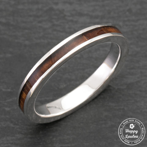 Platinum Ring with Koa Wood Inlay - 3mm, Flat Shape, Comfort Fitment
