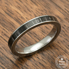 Tungsten Carbide Ring with Ebony Wood Inlay - 3mm, Flat Shape, Comfort Fitment