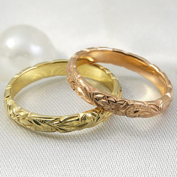 14k Gold Hand Engraved Wave Edge Ring with Hawaiian Old English Design - 3mm, Dome Shape, Standard Fitment,