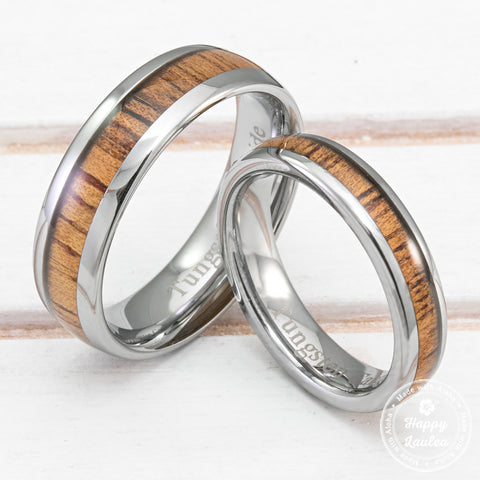 Pair of Tungsten Carbide Rings with Koa Wood Inlay - 4&6mm, Dome Shape, Comfort Fitment