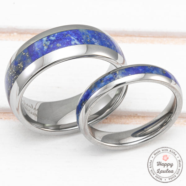 Pair of 4&8mm Tungsten Carbide Rings with Lapis Lazuli Inlay - Dome Shape, Comfort Fitment