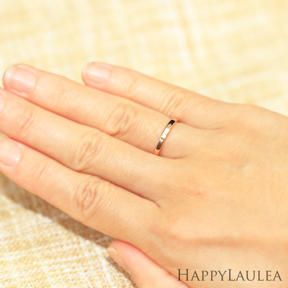 14k solid gold simple 2mm wedding band flat shaped simple wedding ring 14K Solid Gold 2mm Simple Wedding Band