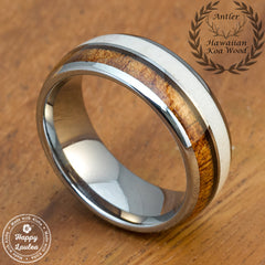 Genuine Antler & Hawaiian Koa Wood Tungsten Carbide Ring, 8mm, Dome Shape, Comfort Fitment