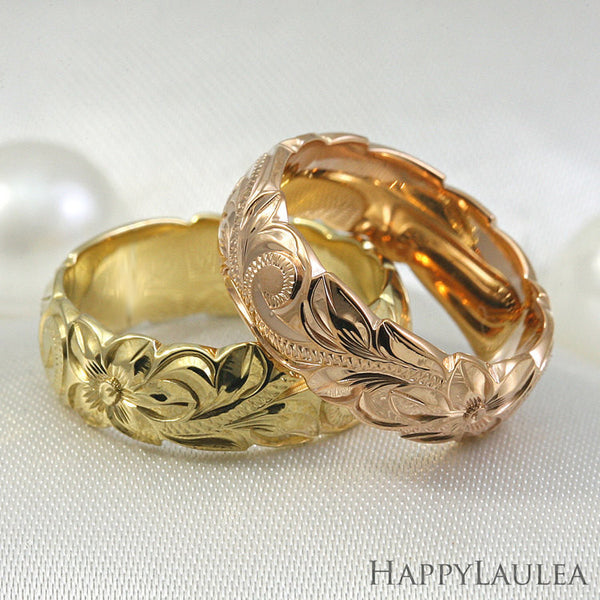 Hawaiian Hand Engraved 6mm 14K Gold Ring with Wave Edges