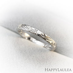 Platinum Hawaiian Jewelry Ring  Hand Engraved 'Old English Design - 3mm, Dome Shape, Standard Fitment