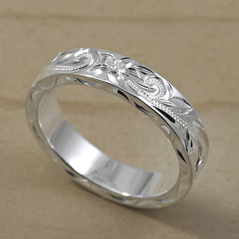 Hawaiian Hand Engraved Silver Flat Ring - 4x2mm, Flat Shape, Standard Fitment