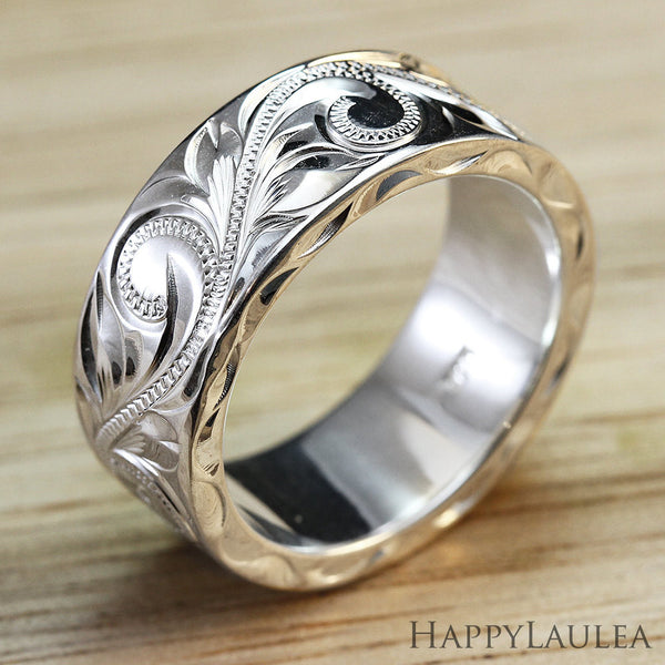 Custom Wedding Rings.Sterling Silver 8mmx2mm Heavy Style Hawaiian Jewelry Hand Engraved Ring Flat Shape Standard Fitment