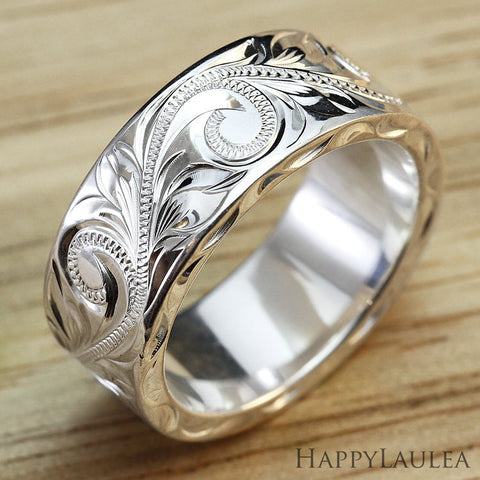 Sterling Silver 8mmx2mm 'Heavy Style' Hawaiian Jewelry Hand Engraved Ring - Flat Shape, Standard Fitment