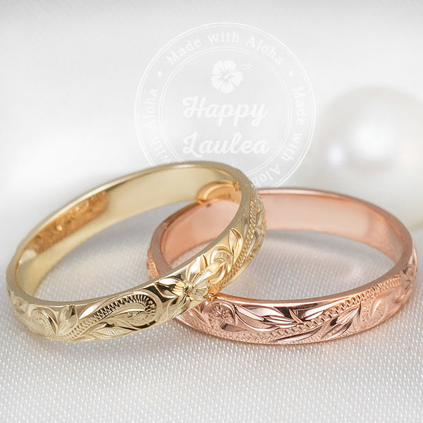 14K Gold Hawaiian Heirloom Hand Engraved Jewelry Ring 3mm Dome Shap