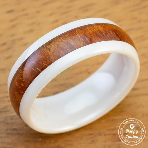 HI-TECH White Ceramic Ring with Hawaiian Koa Wood Inlay - 8mm, Dome Shape, Comfort Fitment