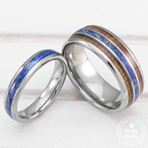 Pair of 4&8mm Assorted Tungsten Carbide Couple/Wedding Rings with Lapis Lazuli and Koa Wood Inlay - Dome Shape, Comfort Fitment