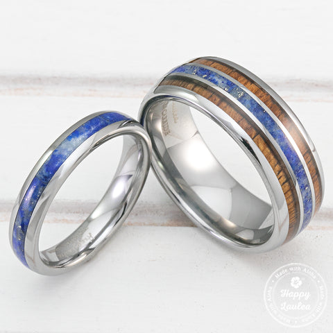Pair Of 4u00268mm Assorted Tungsten Carbide Couple/Wedding Rings With Lapis  Lazuli And Koa Wood
