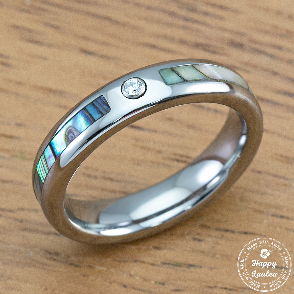 Tungsten 4mm CZ Ring with Abalone Pau'a Shell Inlay, Barrel Style, Comfort Fitment
