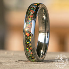 Tungsten Carbide Ring with Crushed Opal Inlay - 4mm, Dome Shape, Comfort Fitment