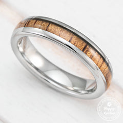 Tungsten Carbide Ring with Koa Wood Inlay, 4mm, Dome Shape, Comfort Fitment