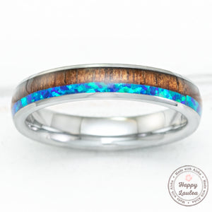 Tungsten Carbide 4mm Ring with Blue Opal & Koa Wood Duo-Inlay - Dome Shape, Comfort Fitment