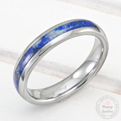 Tungsten Carbide 4mm Ring with Lapus Lazuli Inlay - Dome Shape, Comfort Fitmen