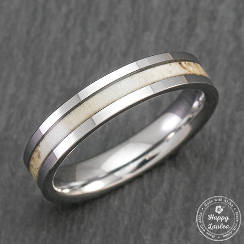 White Tungsten Carbide Ring with Antler Inlay - 4mm, Flat Shape, Comfort Fitment