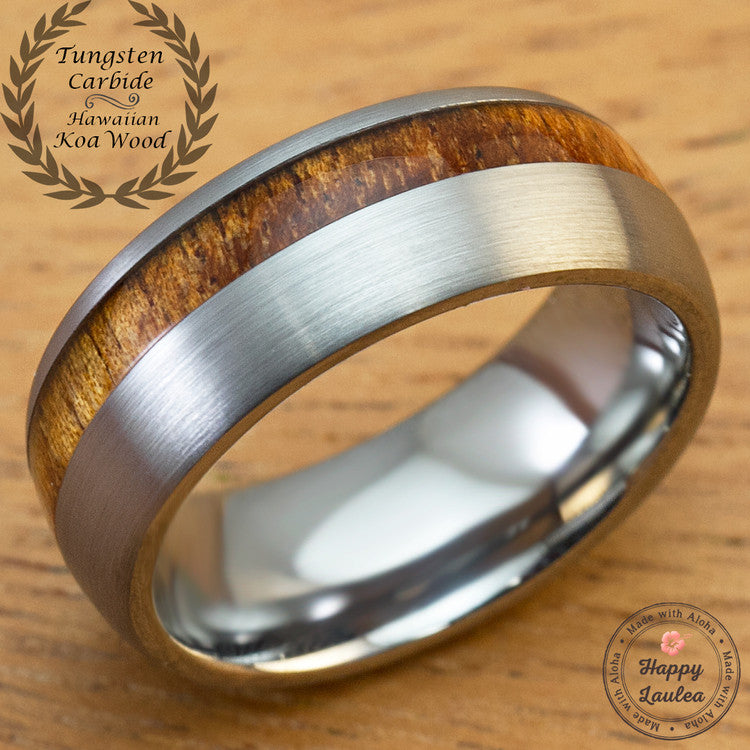 Tungsten Carbide Brush Finish Ring with Offset Hawaiian Koa Wood Inlay - 8mm, Dome Shape, Comfort Fitment