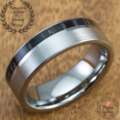 Matte Satin Finish Tungsten Carbide Ring with Black & White Ebony Gabon Offset Inlay - 7mm, Flat Shape, Comfort Fitment