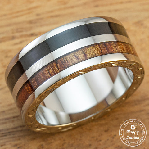 Men's Titanium Hand Engraved Scroll Pattern Ring with Hawaiian Koa and Ebony Gabon Wood Inlay - 10mm, Flat Shape, Standard Fitment