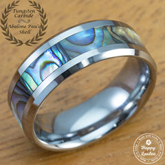Mother of Pearl Abalone Pau'a Shell Tungsten Carbide Beveled Edge Ring