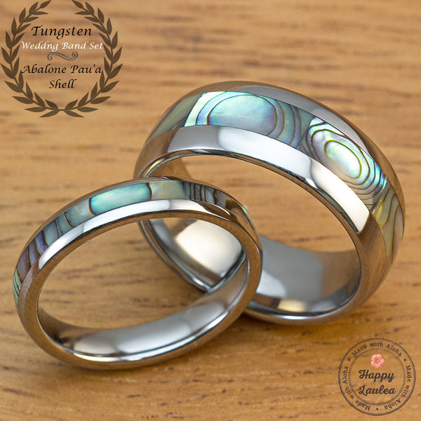 Pair of 4&8mm Abalone Shell Tungsten Carbide Couple/Wedding Band Set - Dome Shape, Comfort Fitment