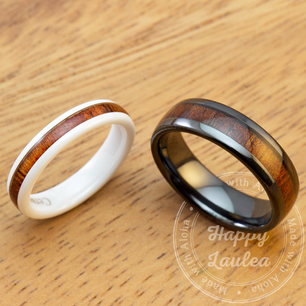 barrel hawaiian rings koa products width type pair of ceramic with inlay wood